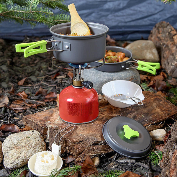 Hunters Creek™ Portable Cookware Set Backpacking Gas Butane Propane Canister Cooking Stove Burner Set Pot Pan Bowl Picnic BBQ Tableware - Carolina Superstore