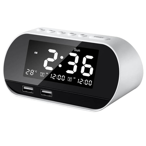 Hunters Creek™ Alarm Clock Dual LCD Digital Snooze Sleep Dimmer Bedrooms FM Radio USB - Carolina Superstore