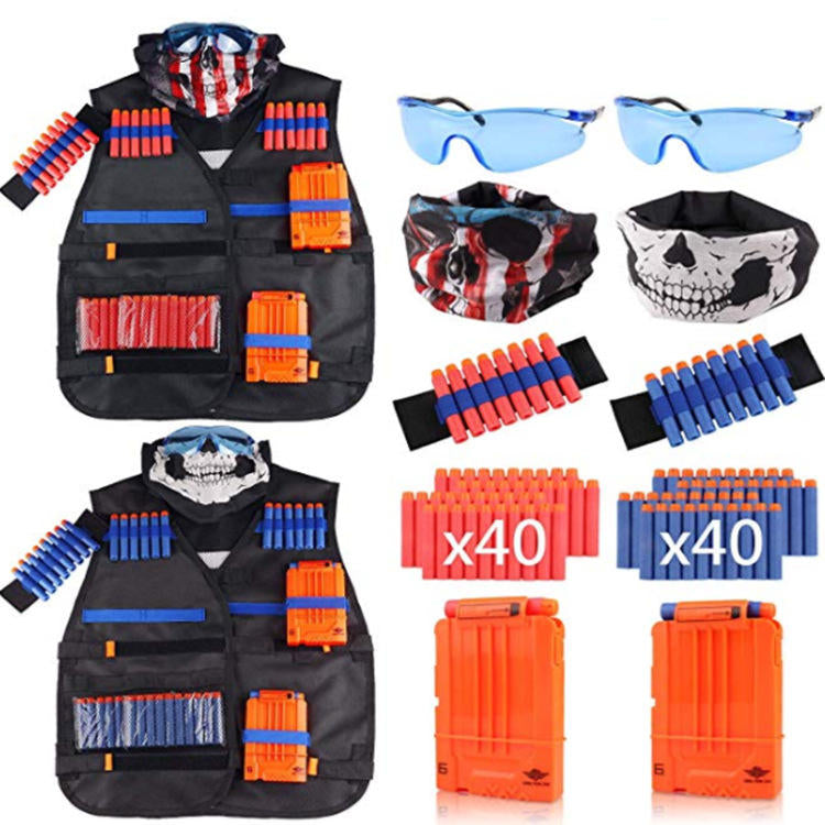 Children 2 Sets Tactical Tank Tops Kit Wrist Bands Face Mask Protective Glasses Darts - Carolina Superstore