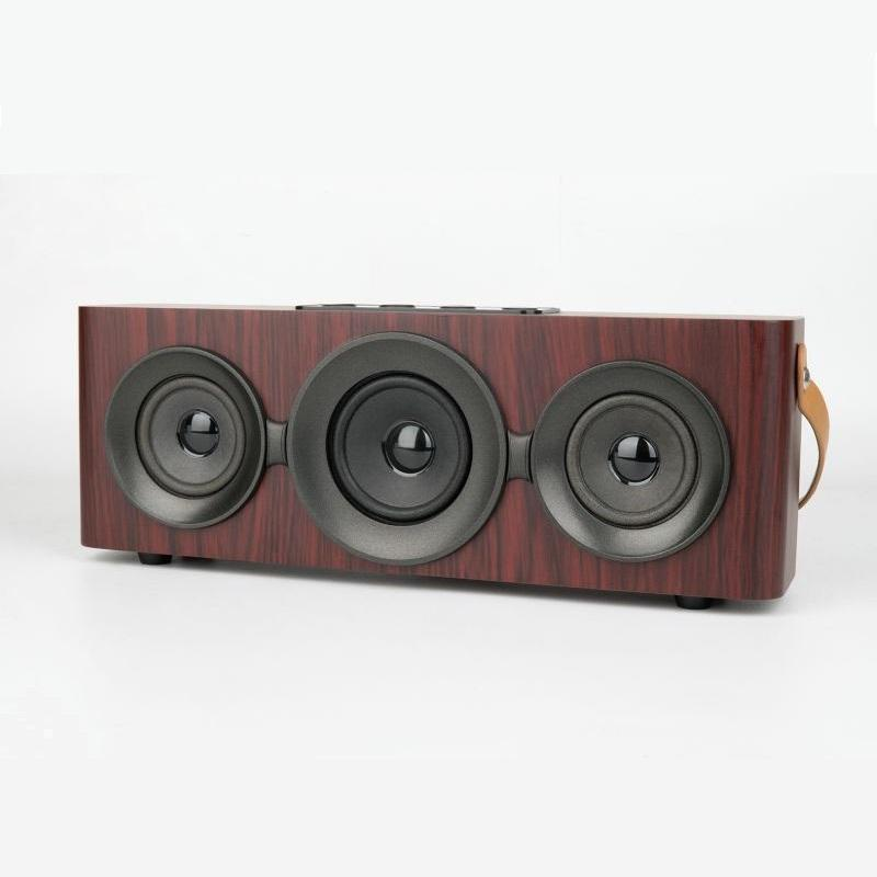 Wooden Portable Wireless bluetooth Speaker Dual Driver FM Radio TF Card Aux-in USB Play Speaker - Carolina Superstore