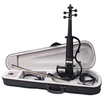 Black 4/4 Full Size Electric Violin Student Fiddle Case Bow Headphone Cable Set - Carolina Superstore
