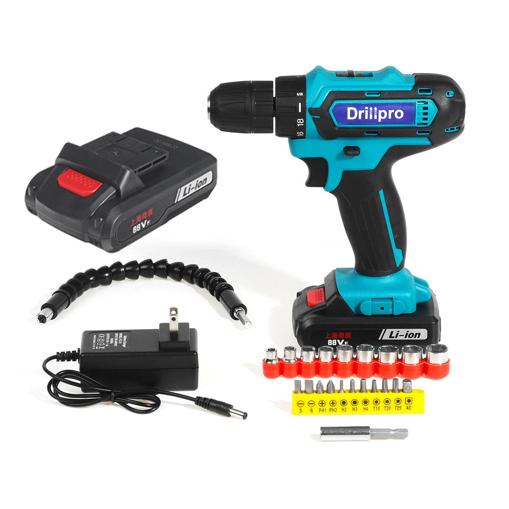 Hunters Creek™ 88VF Cordless Electric Drill Set Rechargeable Power Screwdriver 18+1 Torque W/ 2 Li-ion Battery - Carolina Superstore