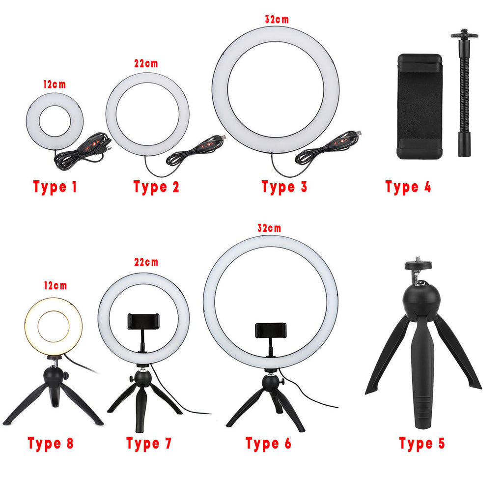 Ring Light LED Makeup Ring Lamp USB Portable Selfie Ring Lamp Phone Holder Tripod Stand Photography Lighting - Carolina Superstore