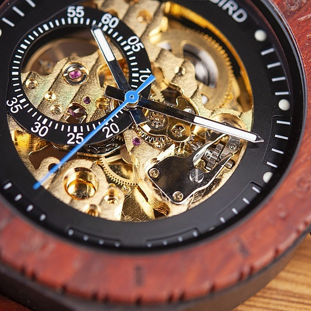 Hunters Creek™ Men Wooden Luminous Hand Wristwatches Mechanical Watch Timepeace The Time Peace - Carolina Superstore