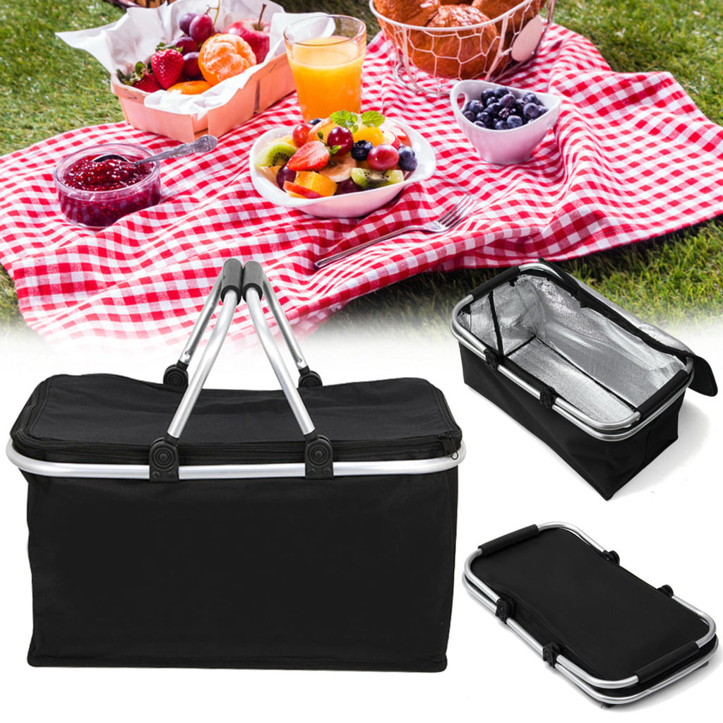 Hunters Creek™ Folding Picnic Storage Baskets Insulated Storage Cooler Hamper Waterproof Camping Travel Lunch Bag - Carolina Superstore