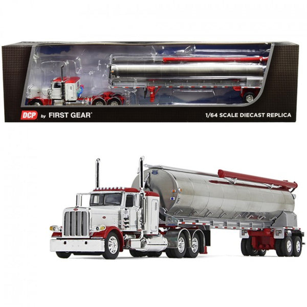 Peterbilt 389 36 Flattop Sleeper Cab with Walinga Tandem-Axle Bulk Feed Trailer White and Chrome 1/64 Diecast Model by DCP/First Gear - Carolina Superstore