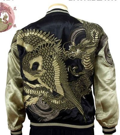 [HANATABIGAKUDAN] Phoenix Dragon Embroidered Japanese Jacket - sukajack