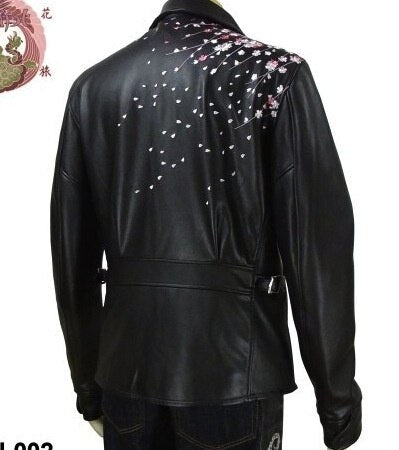 [HANATABIGAKUDAN] Weeping Cherry Collared Riders Jacket - sukajack