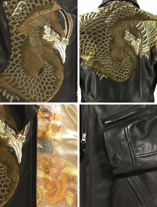 [HANATABIGAKUDAN] Gold Phoenix Collared Riders Jacket - sukajack