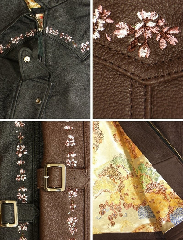 [HANATABIGAKUDAN] Cherry Blossom Collared Riders Jacket - sukajack