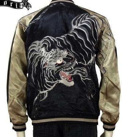 [SATORI] White Tiger Embroidery Souvenir Jacket