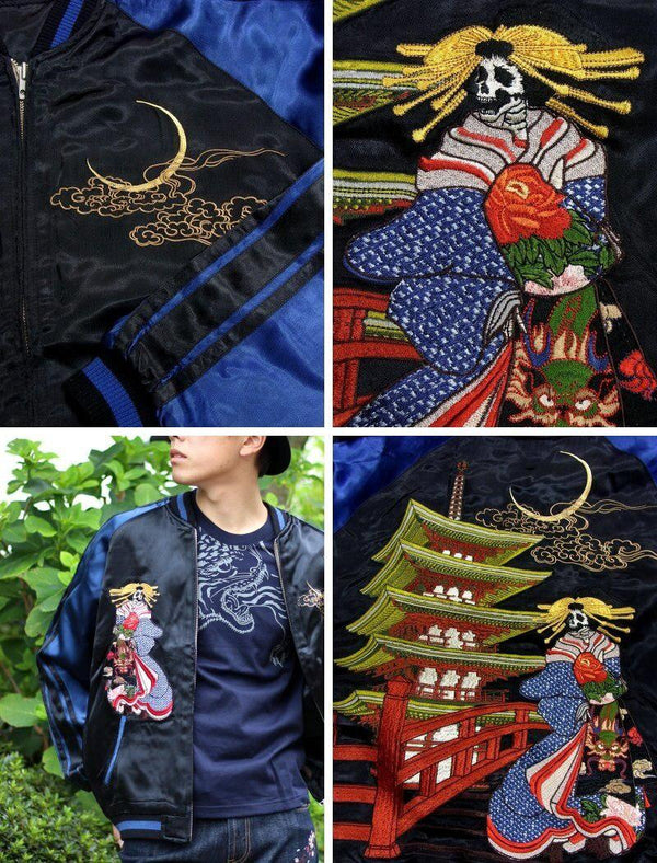 [SATORI] Five-storied Pagoda Skull Embroidery Sukajan