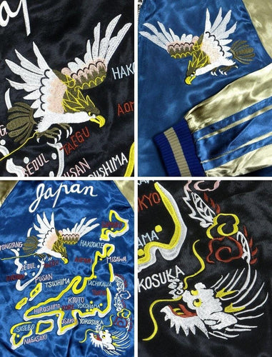 [JAPANESQUE] Hawk and Japan Map Reversible Sukajan
