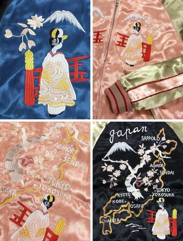 [JAPANESQUE] Maiko and Japan Map Reversible Sukajan