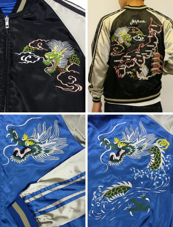 [JAPANESQUE] Japan Map & Blue Dragon Embroidered Souvenir Jacket