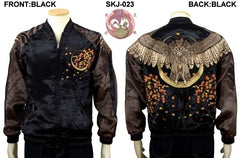 [HANATABIGAKUDAN] Autumn Leaves and Horned Owl Embroidered Bomber Jacket