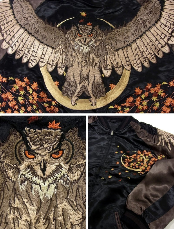 [HANATABIGAKUDAN] Autumn Leaves and Horned Owl Embroidered Bomber Jacket - sukajack