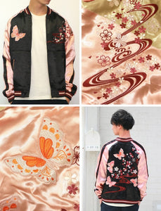 [JAPANESQUE] Sakura and Butterfly Souvenir Jacket - sukajack