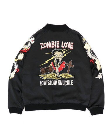 [LOWBLOW KNUCKLE x BETTY BOOP] ZOMBIE LOVE Souvenir Jacket - sukajack