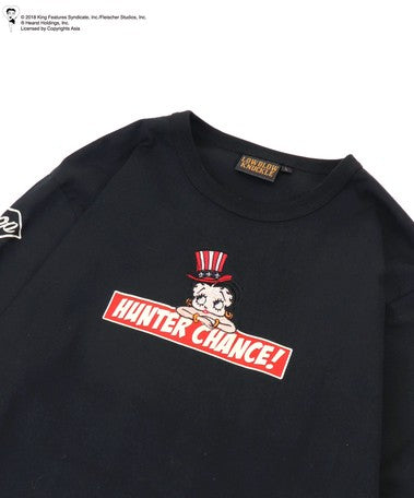 [LOWBLOW KNUCKLE x BETTY BOOP] HUNTER CHANCE Long Sleeve Tee - sukajack
