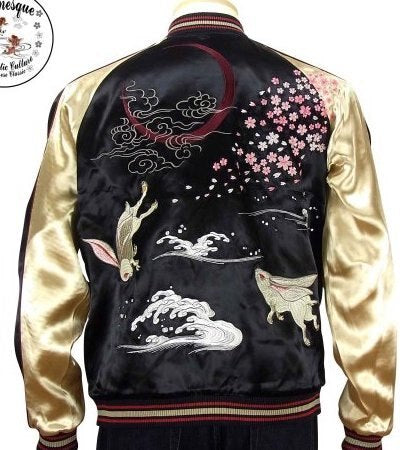 [JAPANESQUE] Cherry Blossoms and Rabbits Reversible Souvenir Jacket - sukajack