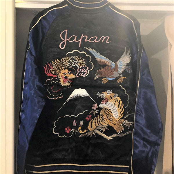 [JAPANESQUE] Dragon and Hawk and Tiger Reversible Sukajan - sukajack