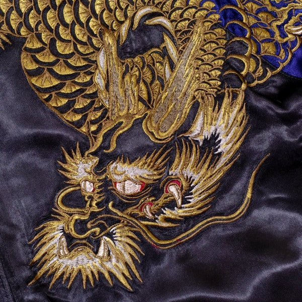 [SATORI] Gold and silver dragon embroidery Souvnier Jacket - sukajack