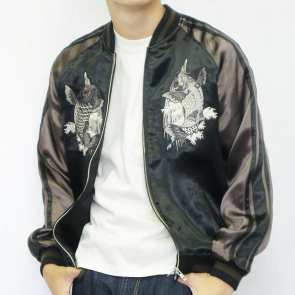 [SATORI] Carp in a Waterfall Reversible Souvenir Jacket - sukajack