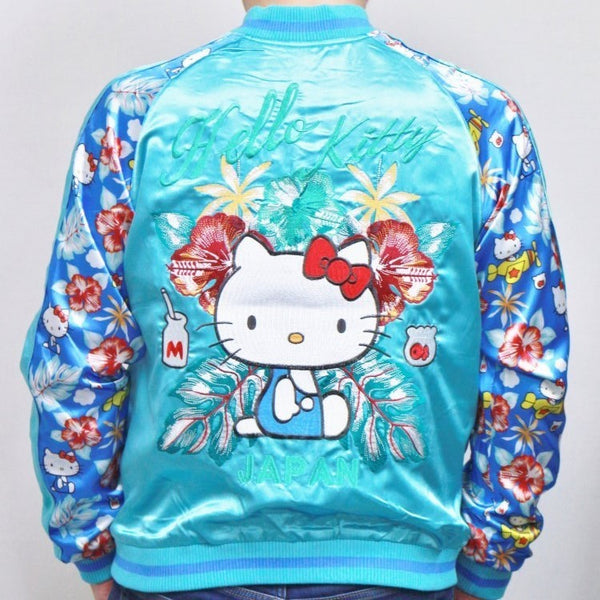 [SANRIO] Hello Kitty Hawaiian Resort Print Sleeve Reversible Sukajan - sukajack