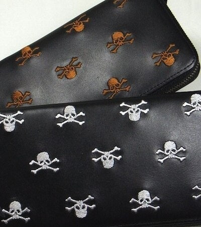 [Junky's Paradise] Skull All patterned Leather Long Wallet - sukajack