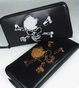 [Junky's Paradise] Skull Embroidered Cow Leather Long Wallet - sukajack