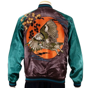 [HANATABIGAKUDAN] Autumn leaves and Owl Souvenir Jacket - sukajack