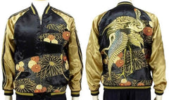 [HANATABIGAKUDAN] Chrysanthemum and Crane Reversible Souvenir Jacket