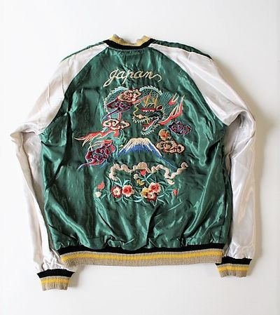 "[TAILOR TOYO] Early 50's style Acetate Souvenir Jacket ""Dragon"" x ""Dragon & Tiger"" - sukajack"