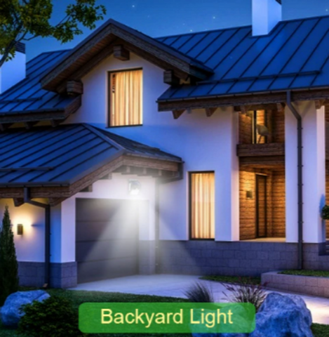 Motion sensor lights house and garden at night