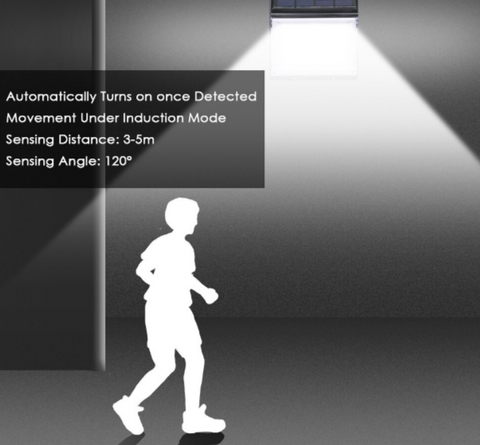 Motion light shining on white silhouette of boy running past house