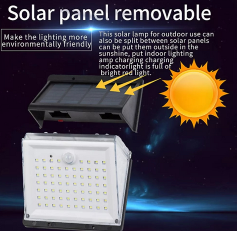 Solar panel top removed with yellow arrows from sun against night sky