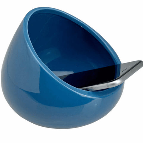 French Blue boom bowl, cell phone inside