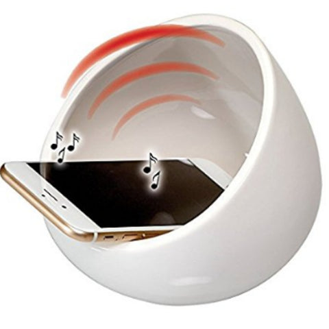 Snow White boom bowl with cell phone inside & music waves