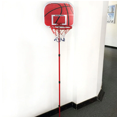 Basketball hoop on pole inside house room