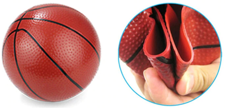 Basketball first inflated and then opened up to show skin width