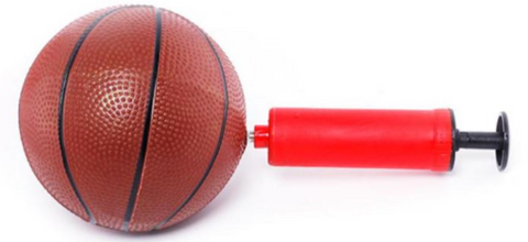 Inflated basketball & air pump