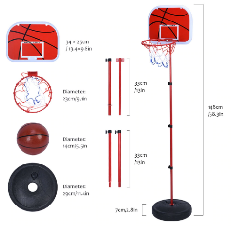 Baskekball parts with measurements: backboard, poles, plate, net, basketball, and separate and assembled