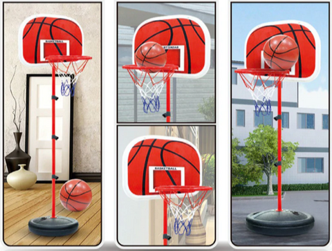 Basketball hoop on pole in four scenes, indoor & outdoor