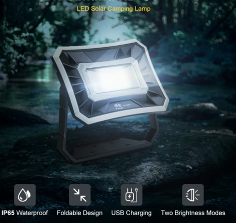 Lantern shining upward in dark forest, 4 features printed across bottom: IP65 Waterproof | Foldable Design | USB Charging | Two Brightness Modes|