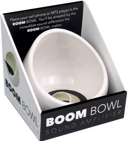 White boom bowl in package on angle. Shows port for power cord.