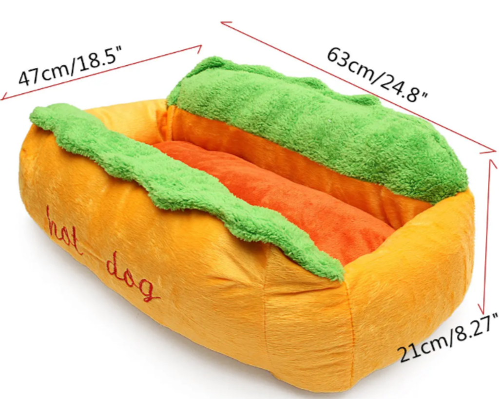 Anti-anxiety hot dog bun style dog bed dimensions: 24.8x18.5x8.27 inches