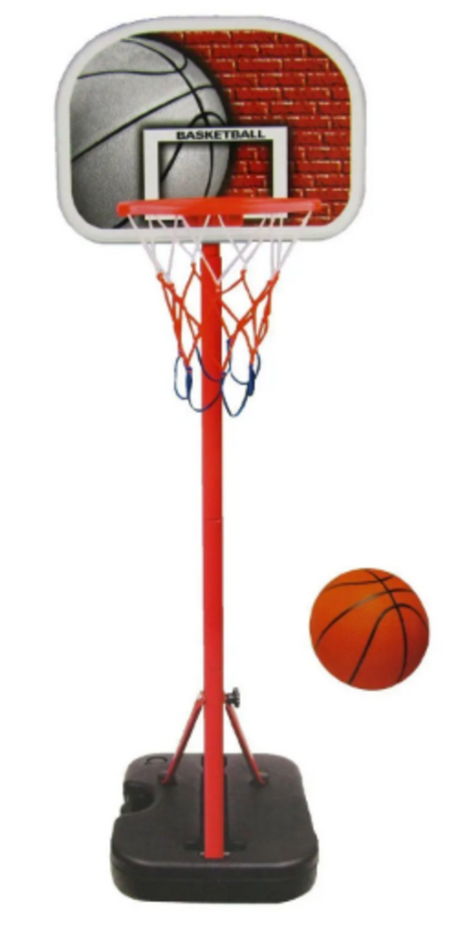 Basketball plus basketball hoop, backboard, pole