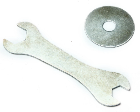 Basketball set assembly tools: Metal wrench and back plate