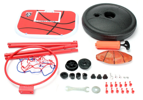 Basketball set disassembled and tools for assembly
